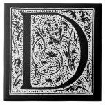 "Vintage Letter D Monogram Black White ""D"" Initials Large Square Tile"