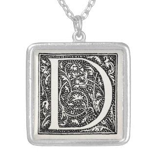 """Vintage Letter D Monogram Parchment """"D"""" Initials Square Pendant Necklace"""