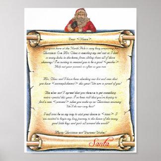 Vintage Letter from Santa Poster