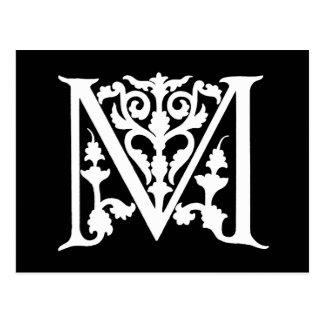 "Vintage Letter M Monogram Black White ""M"" Initials Postcard"