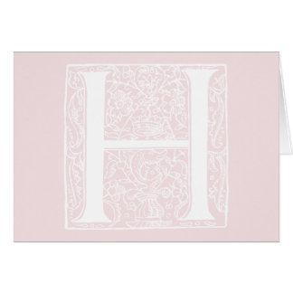 "Vintage Letter N Monogram Rose Pink ""H"" Initials Greeting Card"