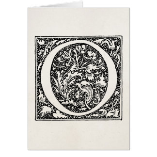 """Vintage Letter O Monogram Parchment """"O"""" Initials Note Card"""
