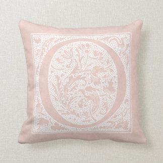 "Vintage Letter O Monogram Rose Pink ""O"" Initials Cushion"