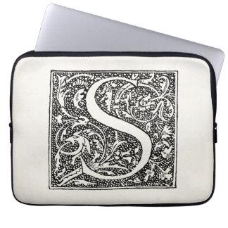 """Vintage Letter S Monogram Parchment """"S"""" Initials Laptop Sleeve"""