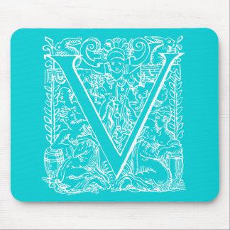 """Vintage Letter V Monogram Aqua Teal Neon Blue """"V"""" Mouse Pad"""