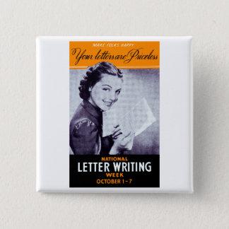Vintage Letter Writing 15 Cm Square Badge