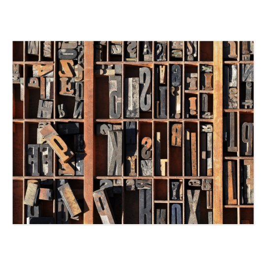 Vintage Letterpress Blocks Postcard
