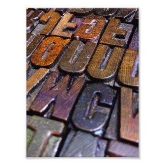 vintage letterpress type texture photo print