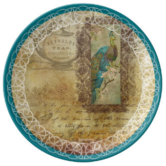 Vintage Letters Turquoise Peacock Decorative Plate