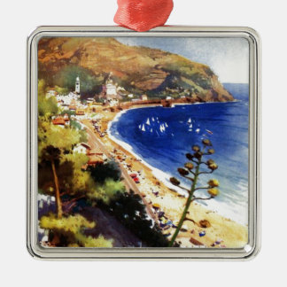 Vintage Levanto Genova Italy Tourism Silver-Colored Square Decoration
