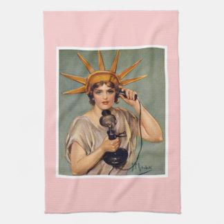 Vintage Liberty Calling Kitchen Towel