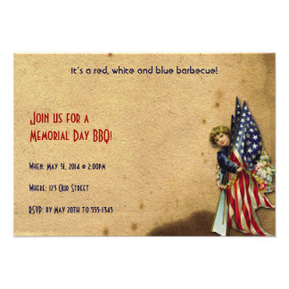 Vintage Liberty Girl with U S Flags Memorial Day Announcements