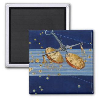 Vintage Libra Star Chart Square Magnet