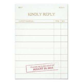 Vintage Library Card RSVP 9 Cm X 13 Cm Invitation Card