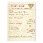 Vintage Library Card Wedding Invitation