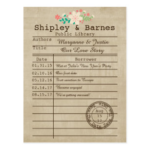 library card save the date wildflowers save the date postcards zazzle uk library card