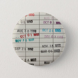 Vintage Library Due Date Cards 6 Cm Round Badge