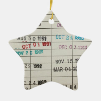 Vintage Library Due Date Cards Christmas Ornament