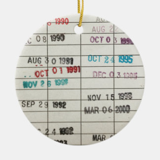 Vintage Library Due Date Cards Round Ceramic Decoration