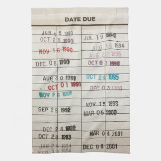 Vintage Library Due Date Cards Tea Towel