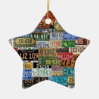 Vintage License Plates Christmas Ornament