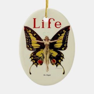 Vintage Life Flapper Butterfly 1922 Christmas Ornament