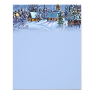 Vintage light blue Christmas snowy world picture. 11.5 Cm X 14 Cm Flyer
