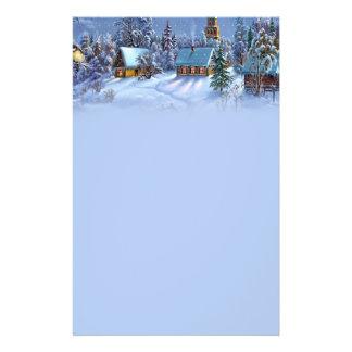 Vintage light blue Christmas snowy world picture. 14 Cm X 21.5 Cm Flyer