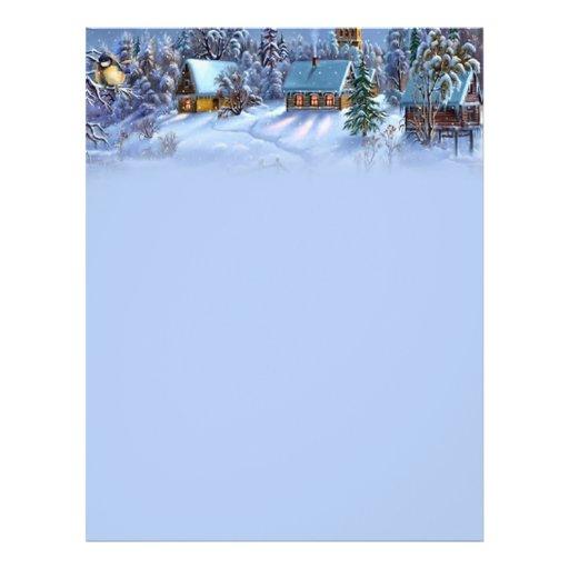 Vintage light blue Christmas snowy world picture. Flyer Design