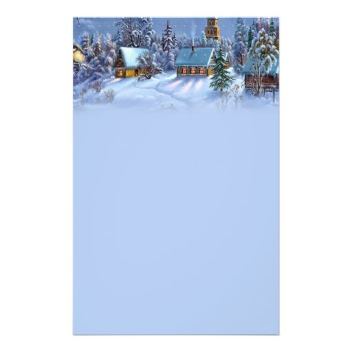 Vintage light blue Christmas snowy world picture. Full Color Flyer