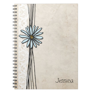 Vintage Light Blue Daisy Spiral Note Books