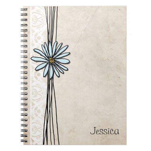 Vintage Light Blue Daisy Spiral Note Books