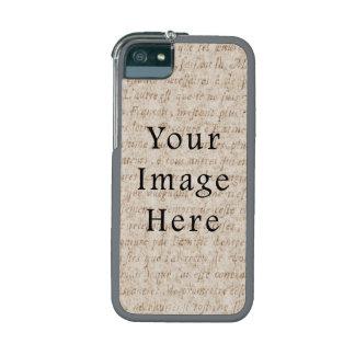 Vintage Light Brown Script Text Parchment Paper iPhone 5/5S Cases
