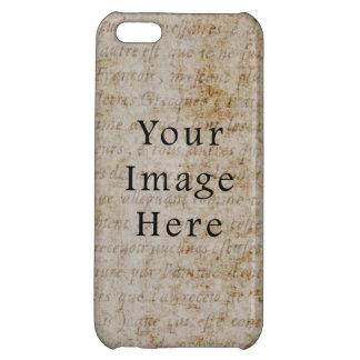 Vintage Light Brown Script Text Parchment Paper iPhone 5C Cover