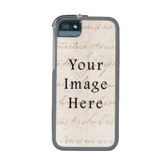 Vintage Light Cream Brown Script Text Parchment Cover For iPhone 5