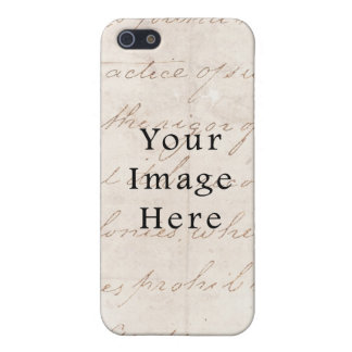 Vintage Light Cream Brown Script Text Parchment iPhone 5 Cases