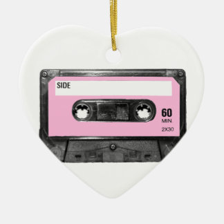 Vintage Light Pink Cassette Ceramic Heart Decoration