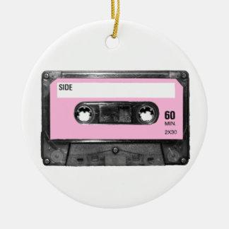 Vintage Light Pink Cassette Round Ceramic Decoration
