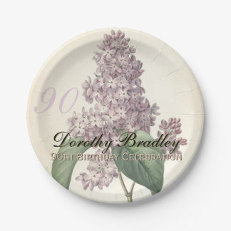Vintage Lilac 90th Birthday Party Paper Plates
