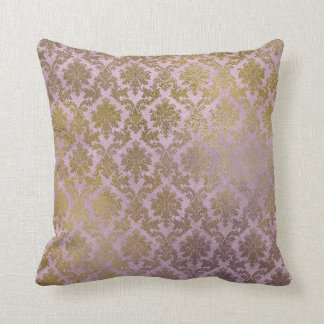 Vintage Lilac Damask Gold Pillow