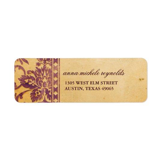 Vintage Lilac Damask Lace Fancy Return Address Label