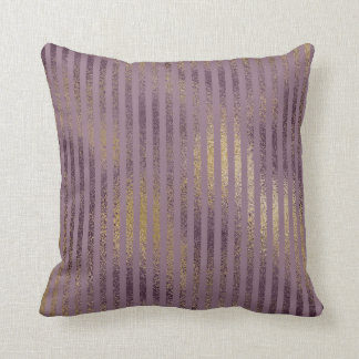 Vintage Lilac Paint Splatter Gold Stripes Pillow