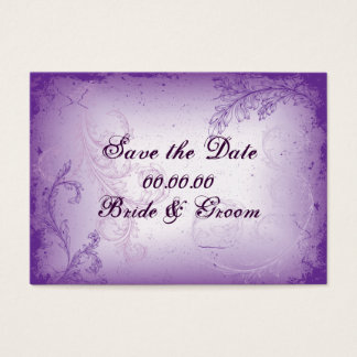 Vintage lilac purple scroll leaf Save the Date Business Card