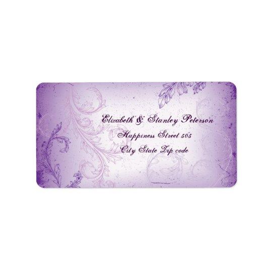 Vintage lilac purple scroll leaf wedding label