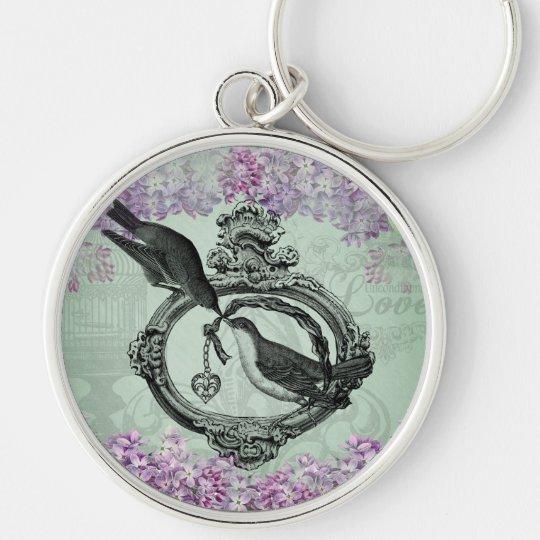 Vintage Lilacs Locket Keychain