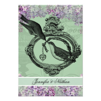 Vintage Lilacs Locket RSVP Card Invite