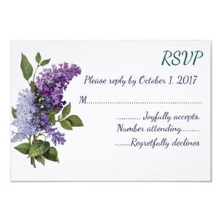 Vintage Lilacs Wedding RSVP Card