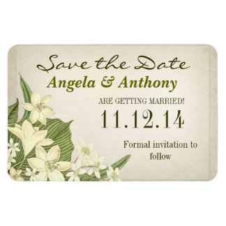 vintage lilies save the date magnet