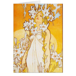 Vintage Lily by Alphonse Mucha Card