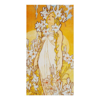 Vintage Lily by Alphonse Mucha Poster